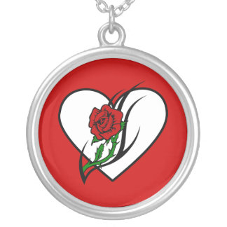 Red Rose Tattoo Personalized Necklace