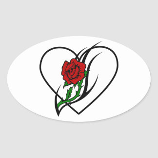 Red Rose Tattoo Oval Sticker