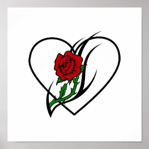 Red Rose Tattoo Print