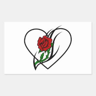 Red Rose Tattoo Rectangular Sticker