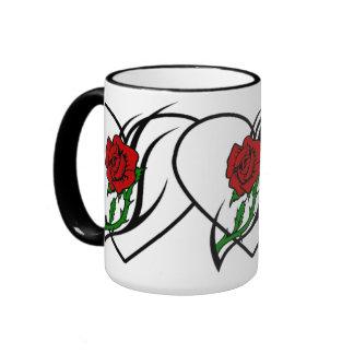Red Rose Tattoo Ringer Coffee Mug