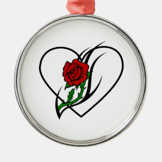Red Rose Tattoo Round Metal Christmas Ornament