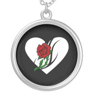 Red Rose Tattoo Round Pendant Necklace