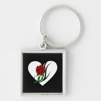 Red Rose Tattoo Silver-Colored Square Keychain