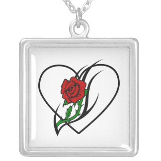 Red Rose Tattoo Square Pendant Necklace
