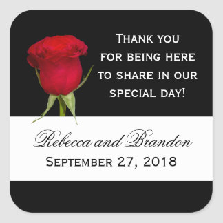 Red Rose Thank You Black and White Square Labels