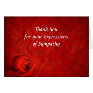 Red Rose Thank You for Your Sympathy Card