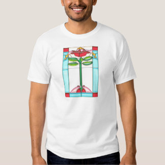 Red Rose Tree Stained Glass in Art Deco Style T-shirt