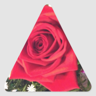 Red Rose Triangle Sticker