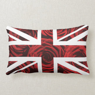 Red Rose Union Jack British(UK) Flag Lumbar Pillow