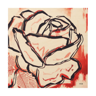 Red Rose Unique Stylish Wood Decor Flower Print Wood Canvases