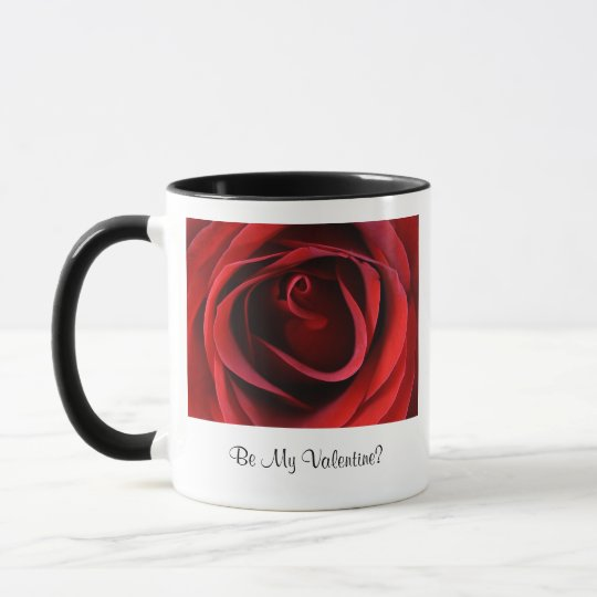 Red Rose Up Close, Be My Valentine Mug