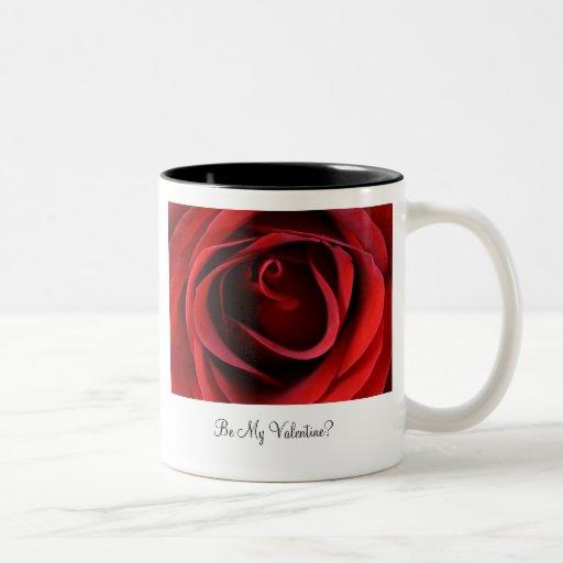 Red Rose Up Close, Be My Valentine? Mug