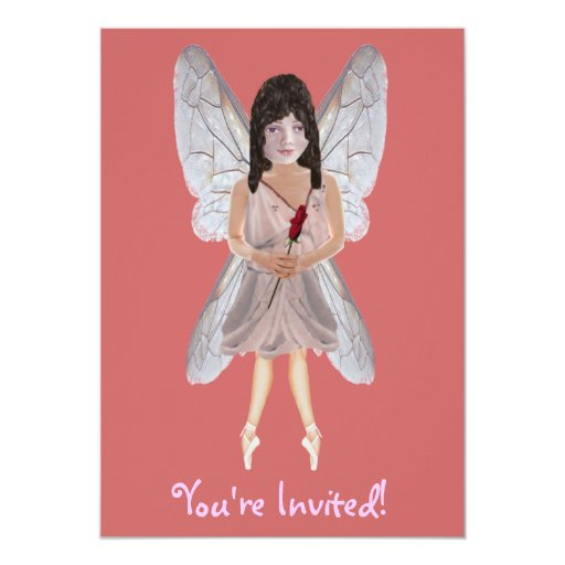 "Red Rose Valentine Fairy 5"" X 7"" Invitation Card"