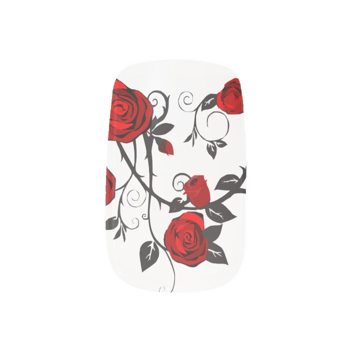 Red Rose Vine Designs Minx Nail Sticker Art Zazzle Com