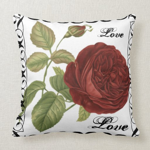 Red Rose Decorative Pillow : Red Rose Vintage Decorative Pillow Zazzle
