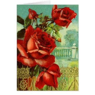 Red Rose Vintage Valentine Card