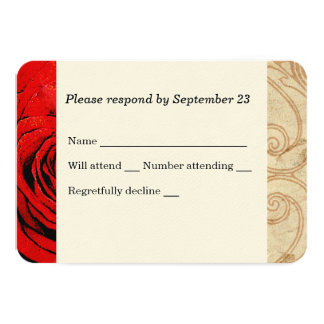 Red Rose Vintage Wedding RSVP Card