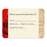 """Red Rose Vintage Wedding RSVP 3.5"""" X 5"""" Invitation Card"""