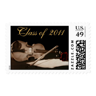 Red Rose & Violin Class of  Graduation Postage