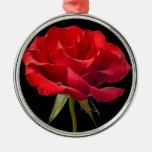 Red Rose w/ Dew Drop on Black Background Custom Christmas Tree Ornament