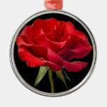 Red Rose w/ Dew Drop on Black Background Custom Round Metal Christmas Ornament