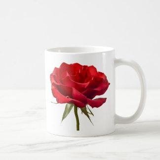 Red Rose w/ Dew Drop on White Coffee Mug