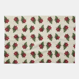 Red Rose Wallpaper Pattern Towels