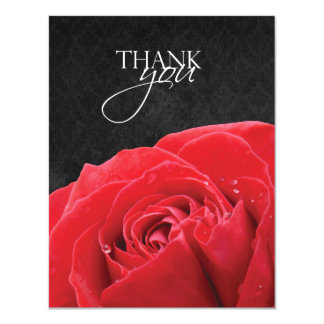 Red Rose & Water Droplet Flat Thank You Card