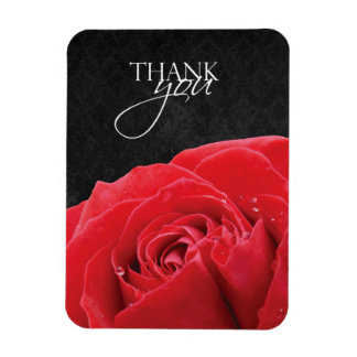 Red Rose & Water Droplets Thank You Magnet