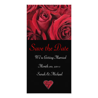 Red Rose Wedding Announcement Card Photo Greeting Card