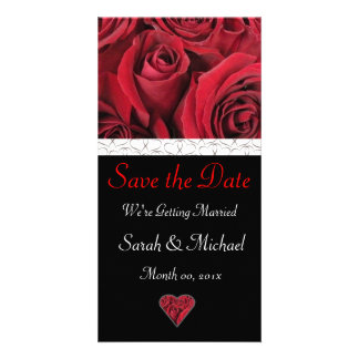 Red Rose Wedding Announcement Photo Card