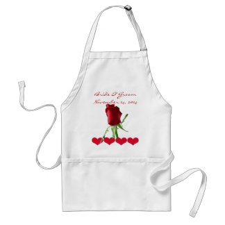 Red Rose Wedding Aprons