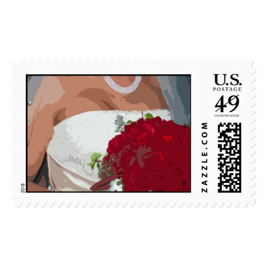 Red Rose Wedding Bouquet Postage