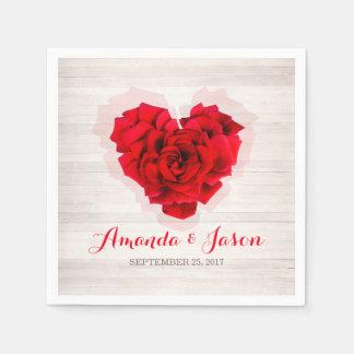 Red rose wedding cocktail paper napkins hhn01