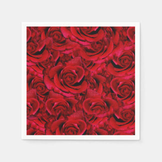 red rose wedding collage paper napkin