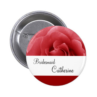 Red Rose Wedding Custom Name Bridesmaid Button