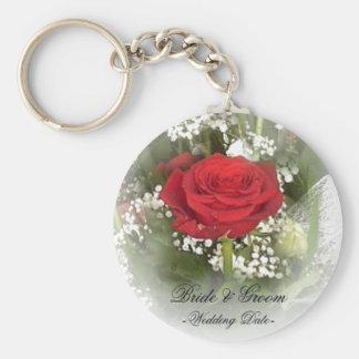 Red Rose Wedding Favor Keychain
