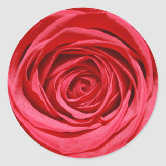 Red Rose Wedding Flowers Glossy Floral Patterns Classic Round Sticker