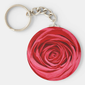 Red Rose Wedding Flowers Glossy Floral Patterns Keychain