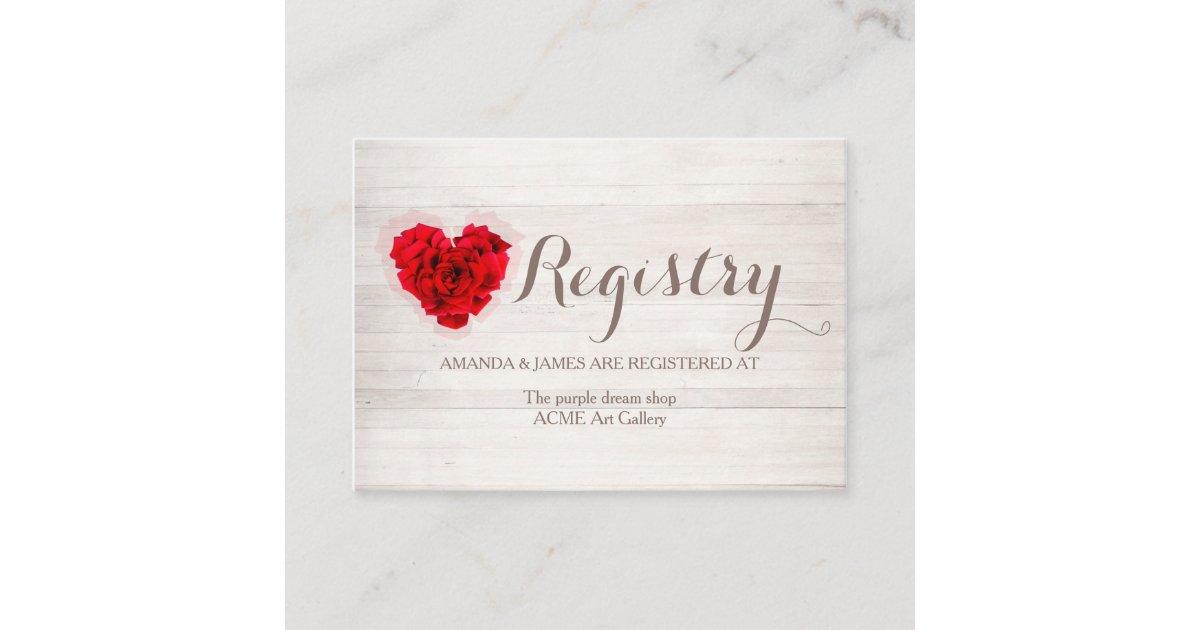 Wedding Gift Card Registry: Red Rose Wedding Gift Registry Card Hhn01