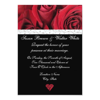 "Red Rose Wedding Invitation with Gray Hearts 5"" X 7"" Invitation Card"