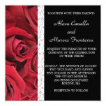 """Red Rose Wedding Invitation with Heart Accents 5.25"""" Square Invitation Card"""