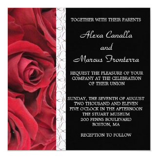Red Rose Wedding Invitation with Heart Accents