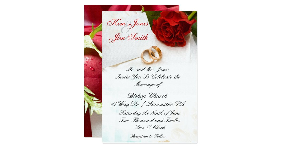 Wedding Invitations Rose: Red Rose Wedding Invitations