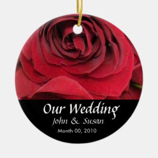 Red Rose Wedding Ornament