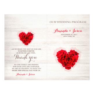 Red rose wedding program card hhn01