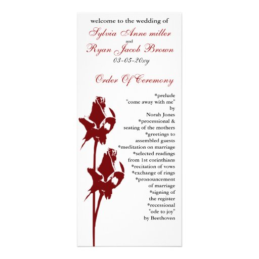 red rose  Wedding program Customized Rack Card