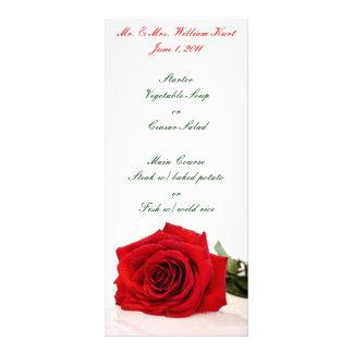 Red Rose Wedding Reception Menu Custom Rack Cards