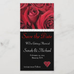 """Red Rose Wedding Save the Date Card<br><div class=""""desc"""">Elegant engagement and/or wedding date announcement card. Red rose bouquet on black makes for an elegant announcement. This item is part of our Wedding Red Rose Collection. See our coordinating stamps and other wedding product items.</div>"""